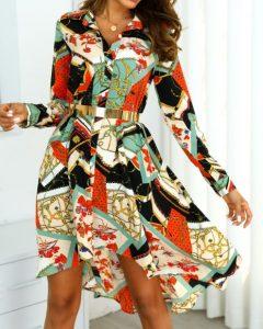 φόρεμα πουκάμισο πολύχρωμο μακρυμάνικο