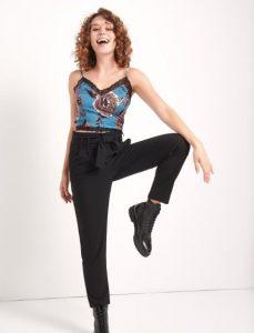 γυναικείο μαύρο παντελόνι με ζώνη στη μέση