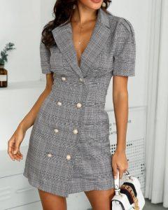 γκρι καρό κοντομάνικο φόρεμα κοντό