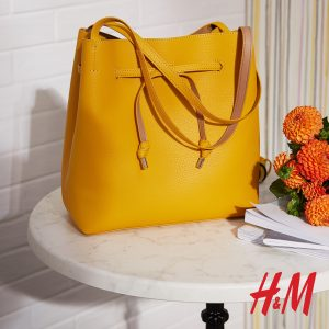 κίτρινη δερμάτινη τσάντα ώμου