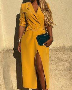 κίτρινο μίντι φόρεμα με ζώνη και σκίσιμο