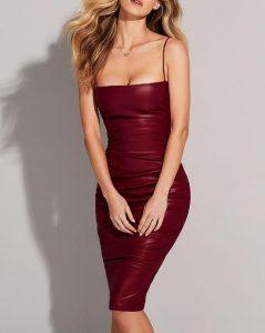 κολλητό μπορντό φόρεμα βινύλ μίντι φορέματα όλες περιστάσεις