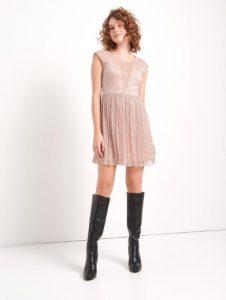 κοντό φόρεμα με μεταλλική κλωστή