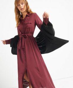 μακρύ σεμιζιέ φόρεμα με κουμπιά