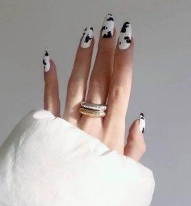 μακριά νύχια animal print αγελάδα μοντέρνα σχέδια νύχια