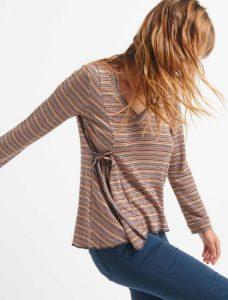 μακρυμάνικη γυναικεία μπλούζα με λεπτομέρεια στο πλάι