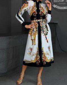 μακρυμάνικο φόρεμα με πολλά σχέδια άσπρο μαύρο μπεζ