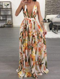 μάξι φόρεμα φλοράλ ντεκολτέ