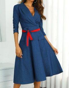 μίντι φόρεμα σε άλφα γραμμή κόκκινη ζώνη φορέματα όλες περιστάσεις