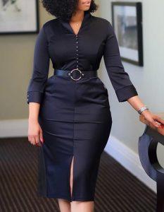 μίντι φόρεμα μαύρο ζώνη μακρυμάνικο