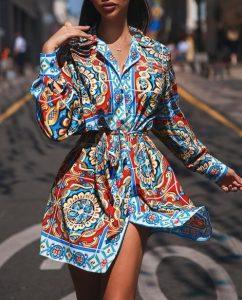 μίνι φόρεμα πουκάμισο εμπριμέ γαλάζιο φορέματα όλες περιστάσεις