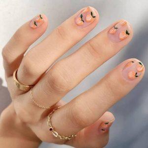 νύχια σχέδιο ροδάκινο διάφανα μοντέρνα σχέδια νύχια