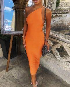μίντι πορτοκαλί φόρεμα με έναν ώμο φορέματα όλες περιστάσεις