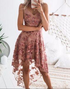 ροζ αμάνικο φόρεμα ανάγλυφα λουλούδια