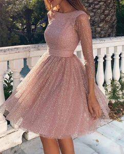 ροζ φόρεμα κοντό γκλίτερ διαφάνεια φορέματα όλες περιστάσεις