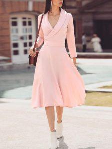 ροζ μίντι φόρεμα κρουαζέ