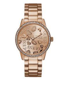 ροζ χρυσό ρολόι κλασσικό μπρασελέ με πέτρες στο καντράν