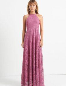 ροζ μακρύ φόρεμα με δαντέλα