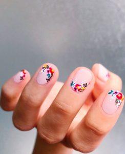 φλοράλ ροζ νύχια λουλούδια