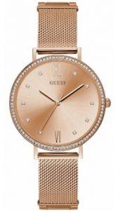 ροζ χρυσό ρολόι με ψάθινο μπρασελέ και ζιργκόν στο καντράν