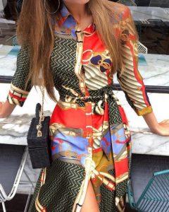 σατέν φόρεμα πολύχρωμο εμπριμέ ζώνη φορέματα όλες περιστάσεις