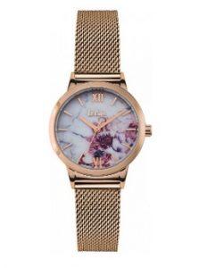 ροζ χρυσό ρολόι ψάθινο μπρασελέ εντυπωσιακό καντράν