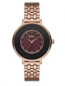 ροζ χρυσό ρολόι με ιδιαίτερο καντράν μπορντώ με μαύρο αδιάβροχα ρολόγια μπρασελέ