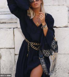 ζώνη αλυσίδα χρυσή μαύρο φαρδύ φόρεμα