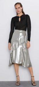 ασημί μεταλλική φούστα με βολάν