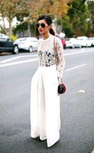 άσπρη μακριά παντελόνα επίσημη μπλούζα με δαντέλα
