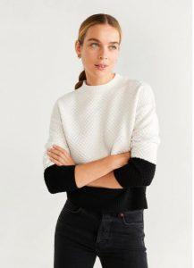 άσπρο πλεκτό πουλόβερ