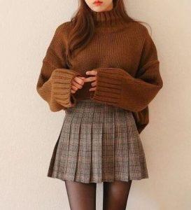 καρό φούστα πουλόβερ