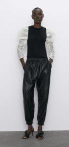 casual δερμάτινο γυναικείο παντελόνι zara