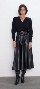 δερμάτινη φούστα Α γραμμή