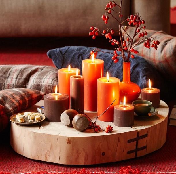 κεριά κόκκινα πορτοκαλί διακόσμηση σπιτιού φθινόπωρο