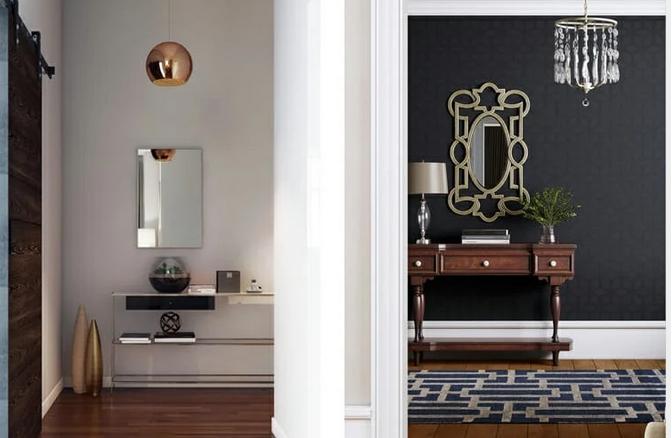 Είσοδος με φως και καθρέφτες