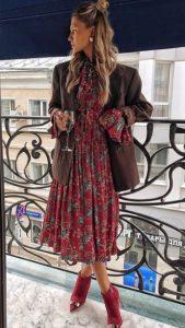 εμπριμέ φόρεμα σακάκι μπορντό