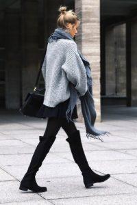 φλατ μπότα κολάν μαύρη φλατ παπούτσια χειμώνα over the knee