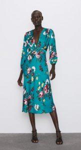 φθινοπωρινό floral γαλάζιο φόρεμα