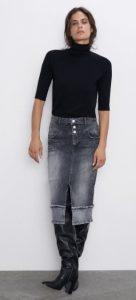 jean ξεβαμμένη φούστα με σκίσιμο