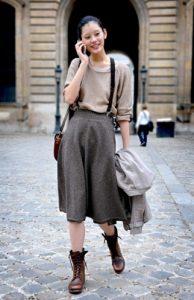 καφέ αρβυλάκι φούστα μίντι