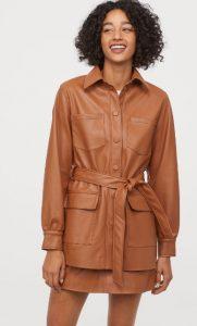 καφέ δερμάτινο παλτό για γυναίκες