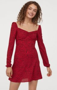κόκκινο animal print φόρεμα h&m