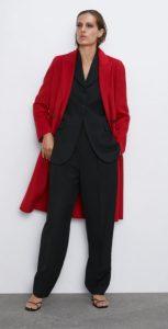κόκκινο μακρύ γυναικείο παλτό