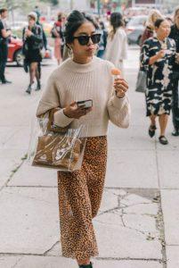 λεοπάρ φούστα μπεζ ζιβάγκο διάφανη τσάντα