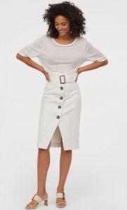 λευκή ψηλόμεση φούστα