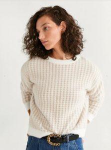 λευκό πλεκτό πουλόβερ