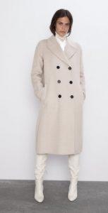 λευκό σταυρωτό γυναικείο παλτό