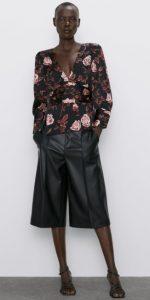 floral μπλούζες βαθύ ντεκολτέ
