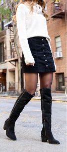 μαύρη τζιν φούστα πουλόβερ